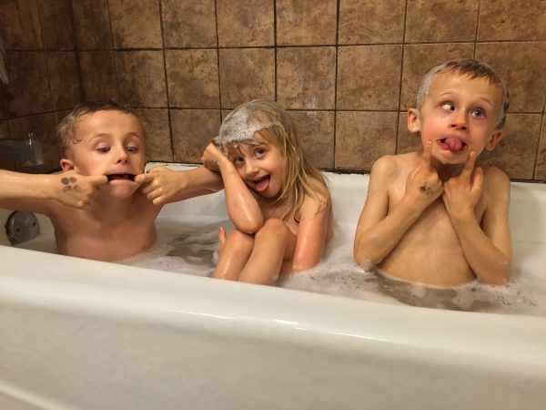 "Bath time. Their very last ""group"" bath time. They're just getting too big and too old now."